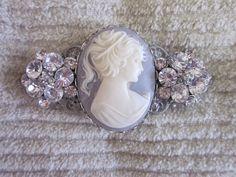 Bridal Hair Clip Bridal Cameo Hair Clip Cameo by QuaintConfections, $12.00