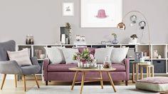 Modern Grey Living Room with Dusky Pink Sofa