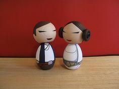 Kokeshi dolls. Princess and pilot  inspired  custom set. via Etsy