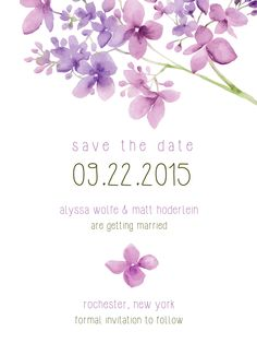 Cute purple flowers! | Save the Date Card | Customizable with your own text | CatPrint Design #396