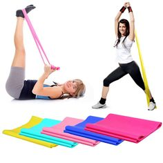 1.2m Elastic Yoga Pilates Rubber Stretch Exercise Band Arm Back Leg Fitness  thickness 0.35mm b0ec30a674bb