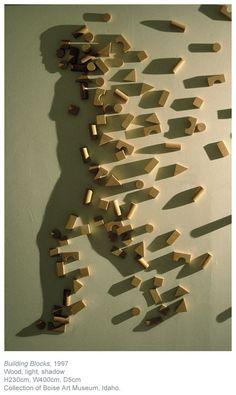"""Kumi Yamashita, """"Building Blocks"""", 1997. Wood, light, shadow."""