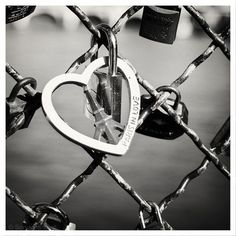 "Paris in Love - Love Locks - black and white photography, padlocks on the bridge, river 8"" x 8"" and larger - Original Fine Art Photograph on Etsy, $30.00"