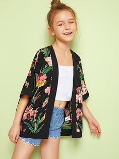 Black Boho Half Sleeve Floral Fabric has no stretch Spring Girls Kimono, size features are:Bust: ,Length: Regular ,Sleeve Length:Half Sleeve Preteen Girls Fashion, Girls Fashion Clothes, Teenage Girl Outfits, Kids Outfits Girls, Kids Fashion, Fashion Outfits, Kids Girls, Crop Top Outfits, Cute Casual Outfits