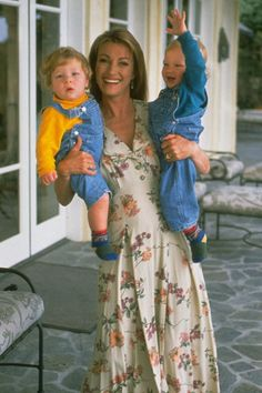Jane Seymour with her twin sons, in real life