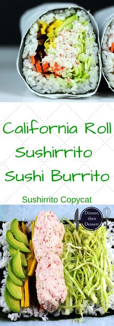 Imitation Crab California Roll Sushi Burrito that is filled with imitation crab, cucumber, avocado, carrots and napa cabbage. Serve with spicy mayo, and soy sauce and laugh at all the normal sized california rolls people are still eating. California Rolls, California Roll Sushi, California Roll Filling Recipe, California Burrito, Sushi Recipes, Seafood Recipes, Asian Recipes, Cooking Recipes, Healthy Recipes