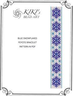 Pattern, peyote bracelet - Blue snowflakes peyote bracelet pattern in PDF instant download