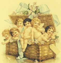 A Basket full of Victorian Cherubs