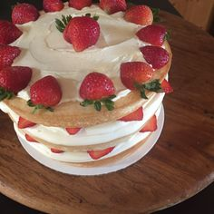 Naked Champagne-Soaked Strawberry Shortcake   Instagram: @taylacakes