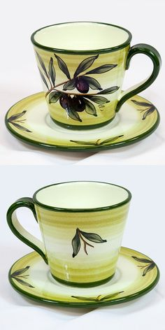 A beautiful ceramic coffee cup and saucer decorated with green olives, leaves and branches on a white background. #Breakfast #Olives #Green $48.49 Follow this link  to see all our products in Green Olive Pattern and their discounted prices: http://www.pietrafittaimports.com/ceramics.html?design_pattern=280=1