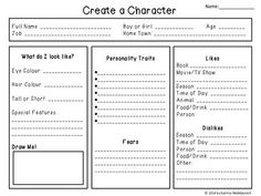 Character Creation. This is a free writing activity that helps the students outline all the key details about a main character. The student needs to fill in all the parts of the character graphic organizer in order to move on to writing their story. This activity is intended for grades 1st- 8th and can be adapted in multiple ways to fit the needs of all students. This activity could be used in the classroom or at home.