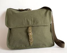 Vintage Military Bag, Army Bag, Green Canvas Messenger Bag, Crossbody Bag, School Bag, Unisex Bag by ARoadThroughTime on Etsy https://www.etsy.com/listing/105118670/vintage-military-bag-army-bag-green