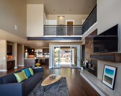 Upper level niche with artwork. Luxurious Multi-Level House With Elevator and Custom Dog Wash Room