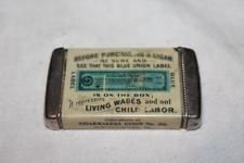 Vintage Celluloid Cigarmakers Union 316 old wood stick match match safe vesta