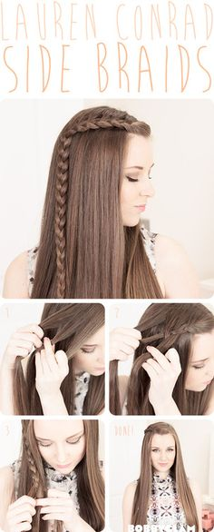 Check out my Lauren Conrad Side Braid tutorial. You should try this style as its a great everyday style. It works perfectly if your trying to grow out a fringe too! Be sure to check out the video version of the tutorial on on YouTube channel, the link is below or check out the full blog here :) http://youtu.be/OnvOEKfeVuY