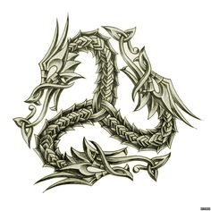 Celtic Dragon - nice variation on the triskele. Celtic Dragon Tattoos, Dragon Tattoo Designs, Viking Tattoos, Arm Tattoo, Tattoo Motive, Tattoo Symbols, Celtic Patterns, Celtic Designs, Viking Designs
