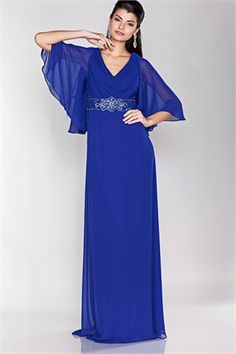 Half Sleeve Evening Mother Of The Bride Long Dress Gown With V Neck And Sparkling Accents At The Waist