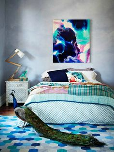 FentonQuilts - also love that watercolor-like art in this blue bedroom
