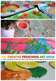 Over 45 Creative Preschool Art Ideas + The Weekly Kids Co-Op Link Party at B-Inspired Mama Preschool Arts And Crafts, Craft Activities For Kids, Projects For Kids, Art Projects, Crafts For Kids, Preschool Ideas, Crafty Kids, Art Classroom, Art Plastique