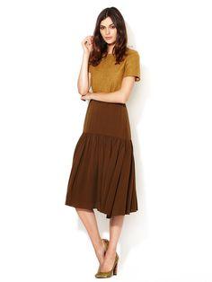 Drop Waist Pleated Silk Skirt by Vanessa Bruno at Gilt