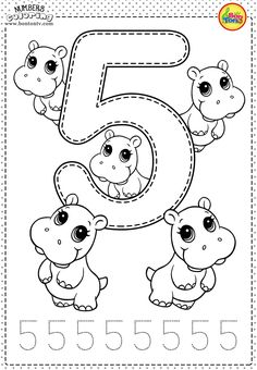 Number 5 - Preschool Printables - Free Worksheets and Coloring Pages for Kids (Learning numbers, counting 1-10) - Broj 5 - Bojanke za djecu - brojevi, radni listovi BonTon TV  numbers  preschool  brojevi  coloringpages  worksheets  printables