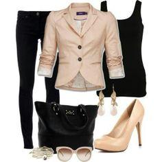 khaki blazer-black slacks-black sequin tee-tan boots-crystal statement necklace
