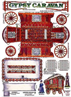 Red gypsy caravan paper toy to make Paper Doll House, Paper Houses, 3d Paper, Paper Toys, Origami Paper, Gypsy Caravan, Gypsy Wagon, Toy Theatre, Printable Paper