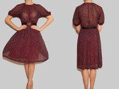 1980s Japanese red vintage dress,short sleeve dress, red floral tea dress,dress,sundress,spring summer dress,oriental dress, Chinese collar by VintageCosmopolitan on Etsy