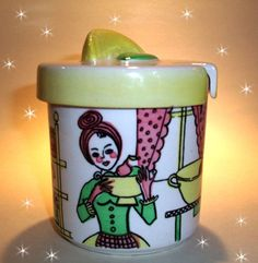 Vintage SCHRAMBERG SMF pottery storage jam Lemon jar 50 s 60 s retro German lady