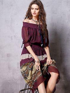ARTKA FASHION OF THE SHOULDER BROWN BOHO PATTERN MAXI DRESS LA12968C US$115.00 Modern Country Style, Bohemian, Glamour, Shoulder, Casual, Pattern, Stuff To Buy, Dresses, Fashion