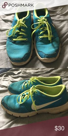 Blue and green Nike shoes Nike running shoes in fair condition Nike Shoes Athletic Shoes