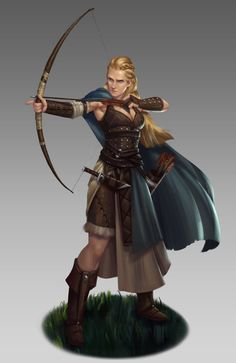 Archer by NathanParkArt female ranger bow arrows dagger elf half-elf armor clothes clothing fashion player character npc | Create your own roleplaying game material w/ RPG Bard: www.rpgbard.com | Writing inspiration for Dungeons and Dragons DND D&D Pathfinder PFRPG Warhammer 40k Star Wars Shadowrun Call of Cthulhu Lord of the Rings LoTR + d20 fantasy science fiction scifi horror design | Not Trusty Sword art: click artwork for source