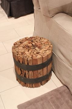 Could be a fun side table in guest room with the pole bed