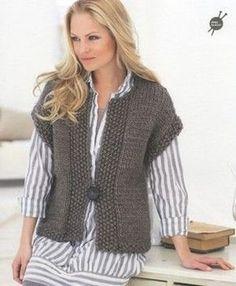 Ideas of free chunky knitting patterns free patterns? yes please NIBJLYP - Crochet and Knit : Popular free chunky knitting patterns knit a sleeveless v-neck sweater: free knitting pattern YUKAUJF Knit Vest Pattern, Crochet Jacket, Knit Jacket, Crochet Shrugs, Free Crochet, Easy Crochet, Free Chunky Knitting Patterns, Knit Patterns, Easy Knitting