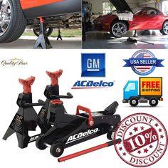 Hydraulic Floor Jack Car Stands 2 Ton Kit Handle Pump Lift Set Garage Tools  New #