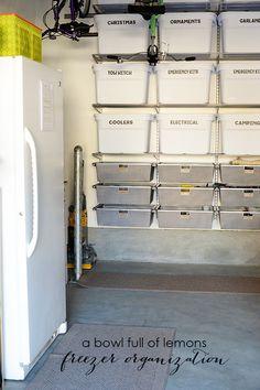 Freezer inventory printable via A Bowl Full of Lemons - Garage organization Basement Storage, Garage Storage, Storage Spaces, Locker Storage, Storage Ideas, Storage Room, Freezer Organization, Shed Organization, Organizing Ideas