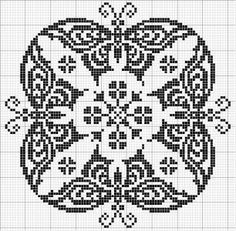 Round 09 | Free chart for cross-stitch, filet crochet | Chart for pattern - Gráfico