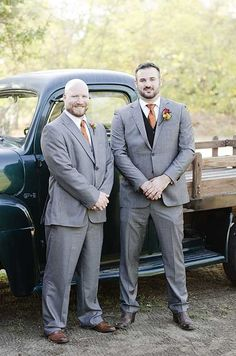 Chad and his best man wore gray suits, orange ties and brown shoes.