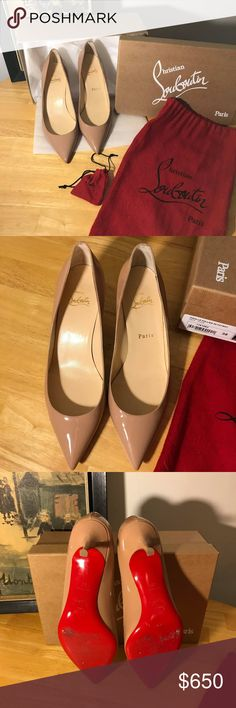 Christian Louboutin Pigalle Follies 55 Size 38 Hard to find  Purchased this December from Bergdorf Goodman  worn only a few times  Nude patent leather  Low heels  Size 38  There are minor scuffs on the soles (pictured) Includes original box, dust bag, heel tips and bag.  I will include the original receipt with my personal info deleted Christian Louboutin Shoes Heels