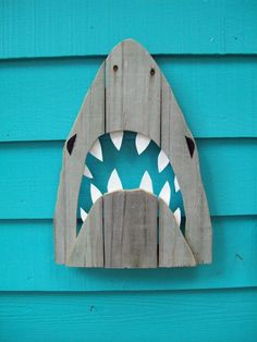 Shark art made of recycled fence wood JAWS Great by JohnBirdsong, $28.00