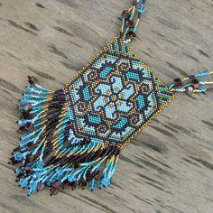 """Beaded pendant """"Magic Flower"""" - peyote necklace, blue, gold, emerald green, boho, fringe"""