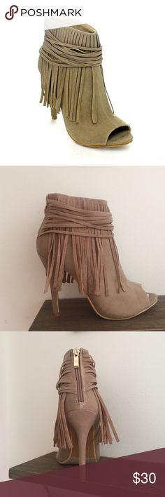 Adriana Hilda Booties Brand new sexy peep toe fringe heel. Size 7 Shoes Heels