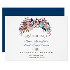 Dusty Blue Misty Rose Bouquet Save The Date Card Custom #babyshower invitations - Make your special day with these personalized #baby #shower #invitations change the colors font and images and make them your own.