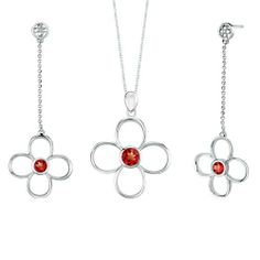 3.00 carats Round Shape Garnet Pendant Earrings Set in Sterling Silver Rhodium Finish . $53.99