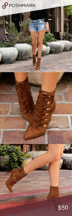 Pre-Fall Booties BRAND NEW!   Super cute lace up booties with stilletto heel and light padding for comfort Tan goes great in any season!  Fits true to size  Pair with sone white jeans tank and leather jacket to make these babies the center of attention!  ITEM IS NOT FROM LISTED BRAND! BRAND LISTED FOR EXPOSURE ONLY! Zara Shoes Ankle Boots & Booties
