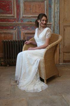 Elegant wedding dress by Christine Trewinnard.