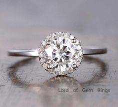 $518 Round Moissanite Engagement Ring Pave Diamond Wedding 14K White Gold 6.5mm