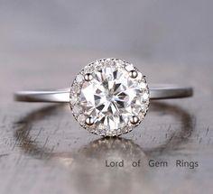 $518 Round Moissanite Engagement Ring Pave Diamond Wedding 14K White Gold 6.5mm