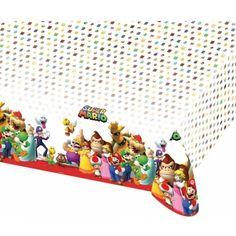 Super Mario thema tafelkleed 120 x 180 cm  Super Mario tafelkleed 120 x 180 cm. Dit feestelijk gekleurde tafelkleed met plaatjes van alle figuren uit Super Mario en is gemaakt van plastic en heeft een formaat van ongeveer 120 x 180 cm.  EUR 6.95  Meer informatie
