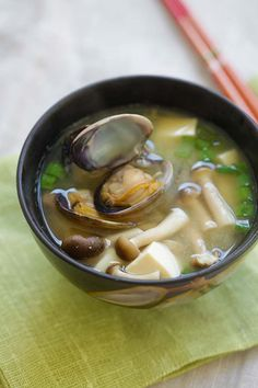 Asari Miso Soup - easy Japanese miso soup with Manila clams. So briny, tasty, done in less than 15 minutes and tastes so good! from @rasamalaysia
